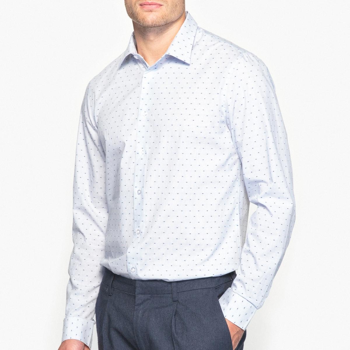 Рубашка слим в полоску и горошек из 100% хлопка