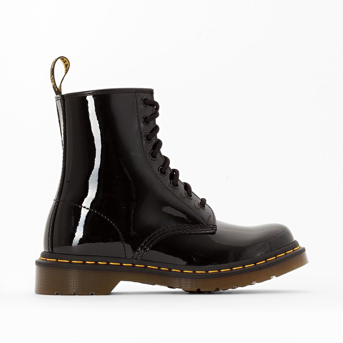 мокасины la redoute кожаные лакированные с кисточками размеры 32 черный Ботинки LaRedoute Кожаные лакированные модель 1460 43 черный
