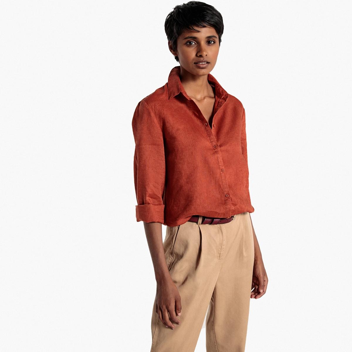 Рубашка прямого покроя, 100% лен