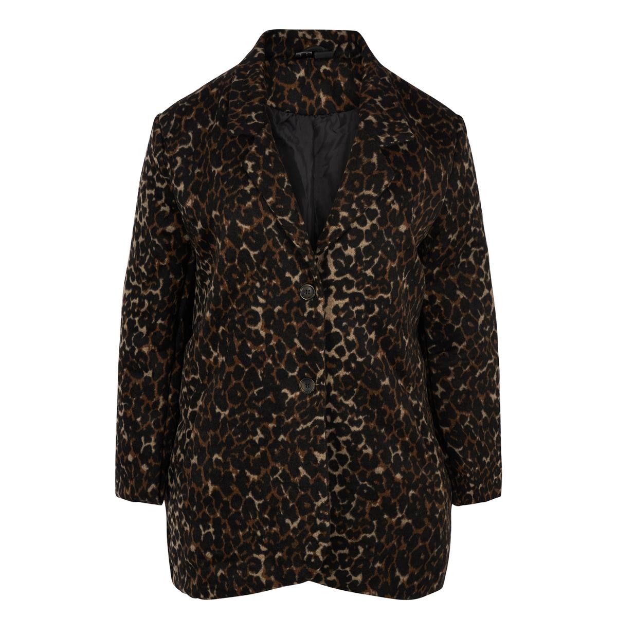 Пальто средней длины  леопардовым рисунком
