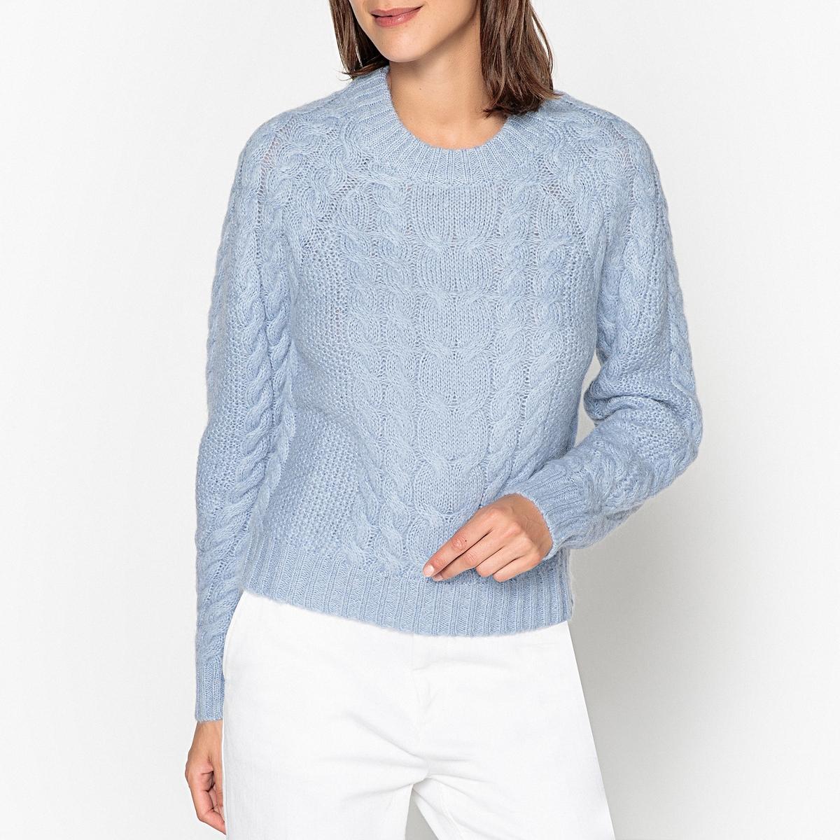 Пуловер с круглым вырезом и узором косы из плотного трикотажа