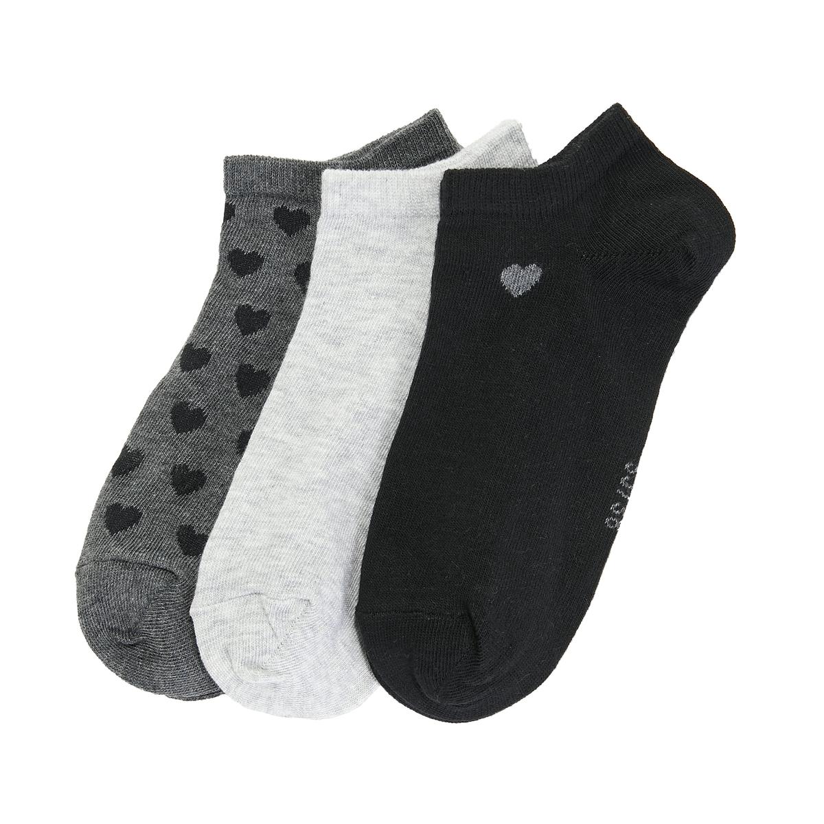 цена на 3 пары носков с принтом сердечки