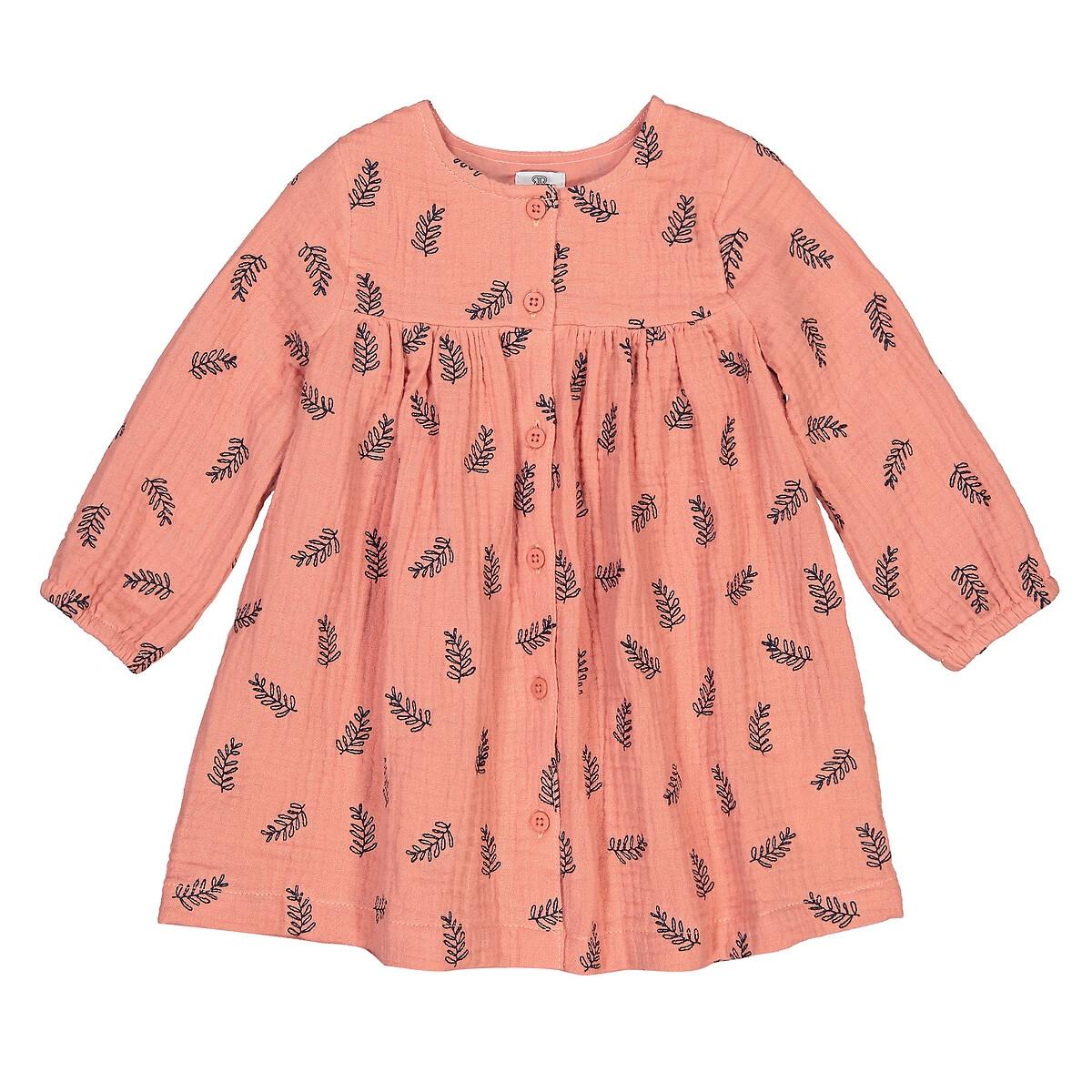 Платье LaRedoute С принтом из хлопчатобумажной газовой ткани 3 мес-4 года 9 мес. - 71 см розовый брюки laredoute из мольтона с бантом 1 мес 3 года 9 мес 71 см розовый