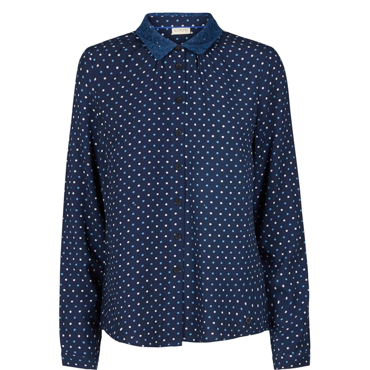 Рубашка в горошек MaricaСостав и описаниеМатериал : 100% вискозаМарка : N?mphМодель : MaricaУходСледуйте рекомендациям по уходу, указанным на этикетке изделия<br><br>Цвет: в горошек/темно-синий<br>Размер: 36 (FR) - 42 (RUS)