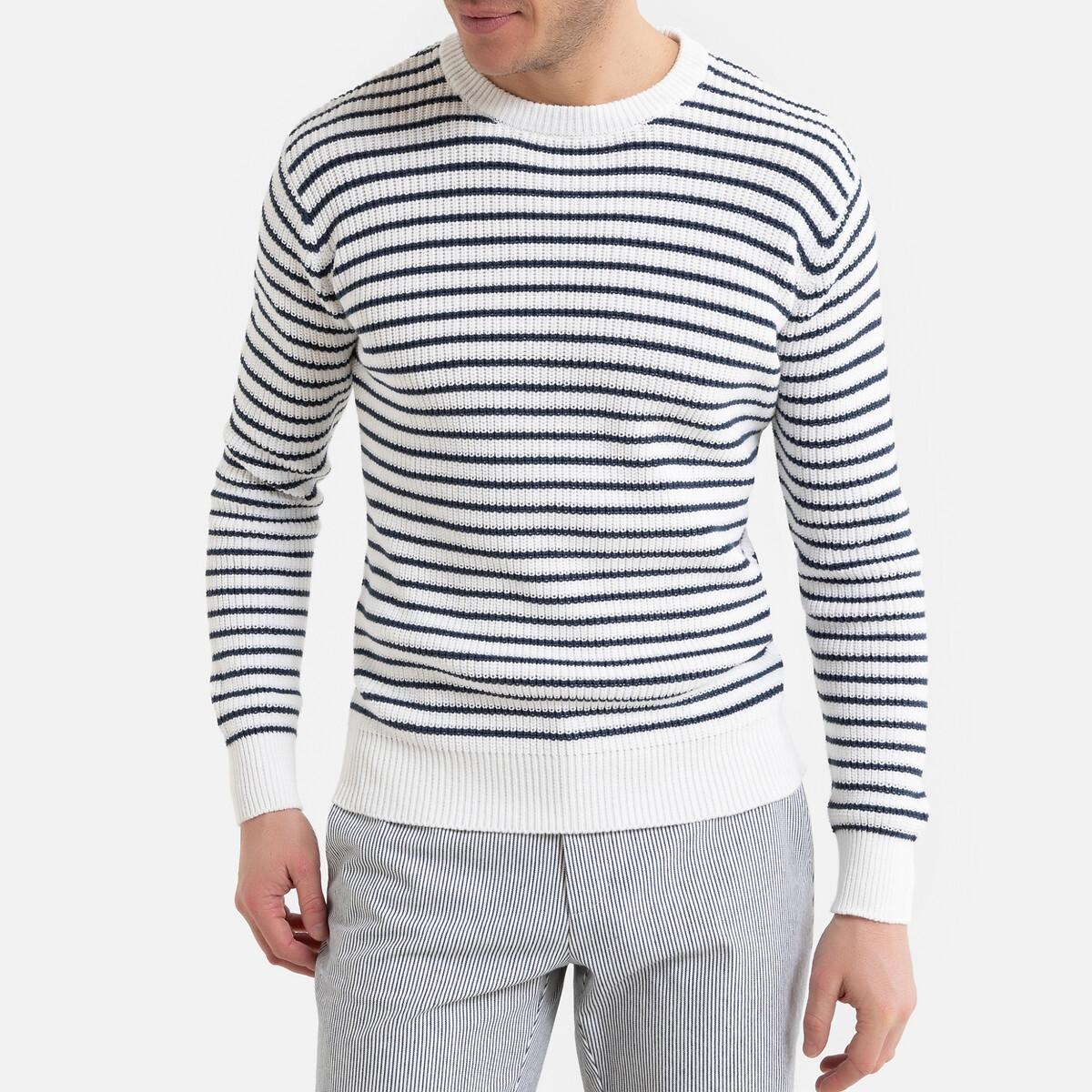 цена Пуловер La Redoute В полоску с круглым вырезом 3XL синий онлайн в 2017 году