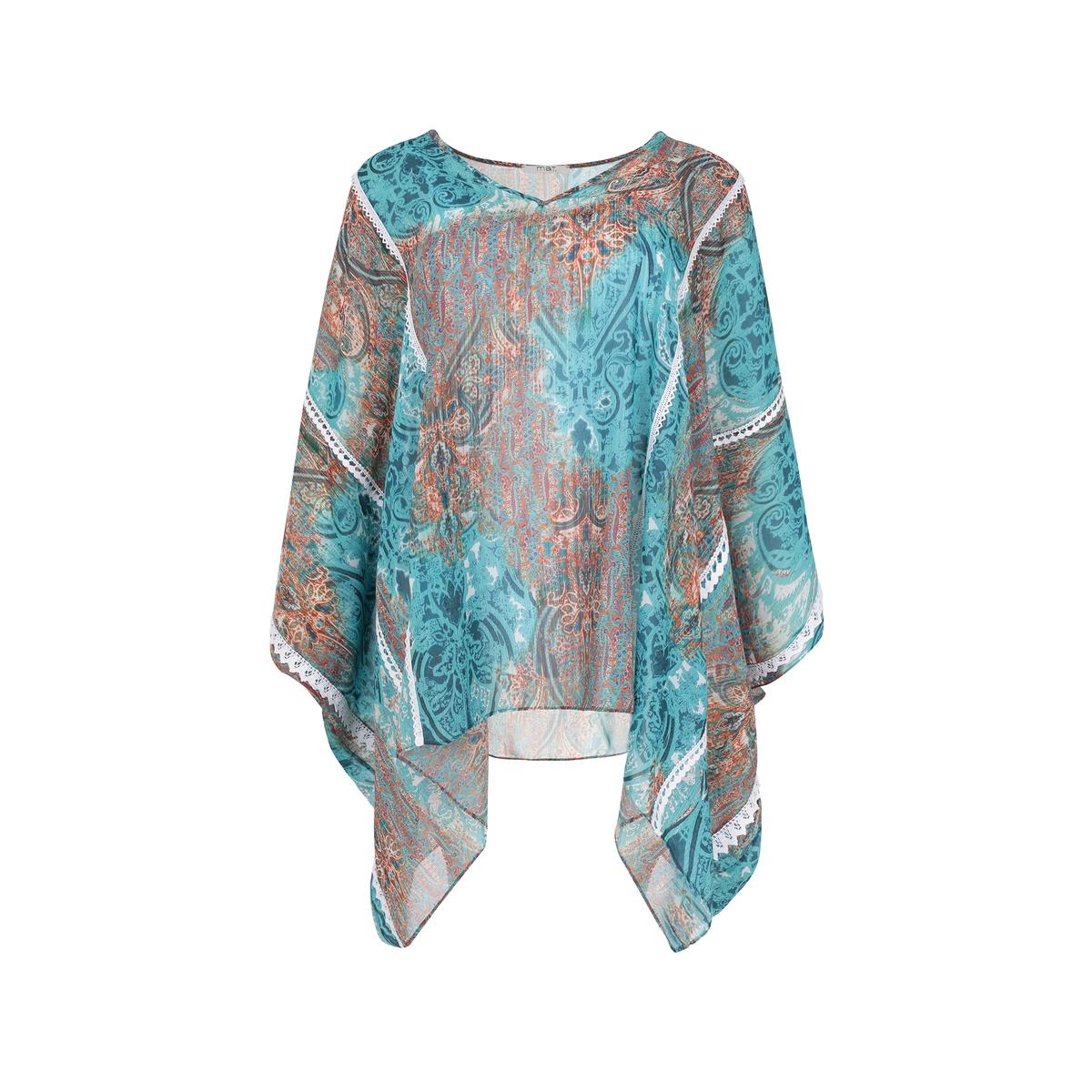 БлузкаБлузка с разноцветным рисунком MAT FASHION. Объемный покрой из легкой ткани . V-образный вырез. Широкие вырезы с разрезами на плечах . Украшение из кружева, связанного крючком . 100% полиэстер<br><br>Цвет: набивной рисунок<br>Размер: 48/52 (FR) - 54/58 (RUS)
