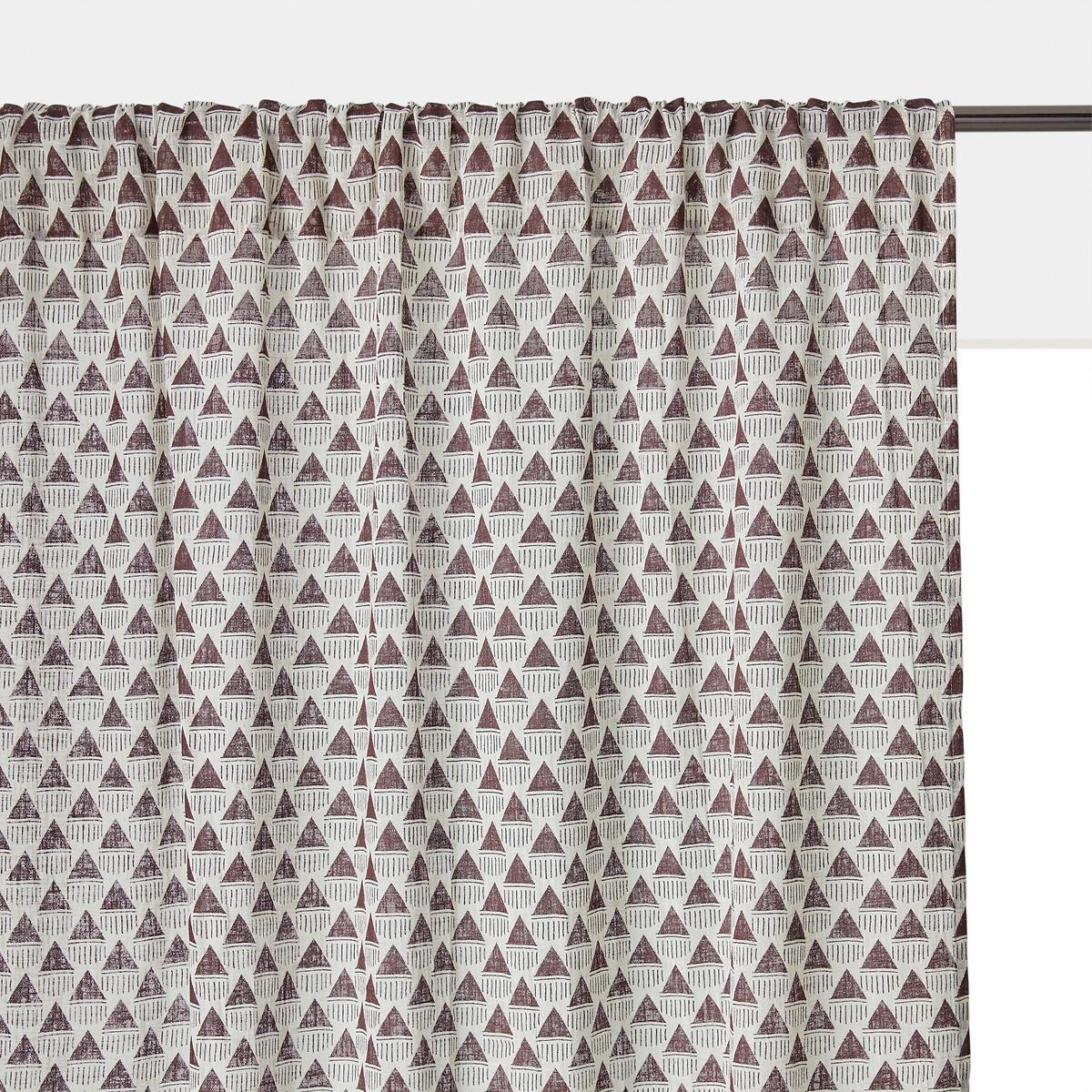 Занавеска LaRedoute С принтом и скрытыми подвесками из полиэстера и хлопка Jema 250 x 140 см красный