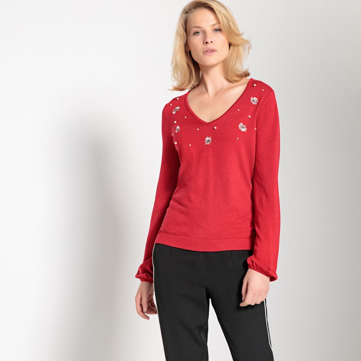 Sweter z dekoltem V, z wyszyciami i ozdobnymi koralikami z przodu