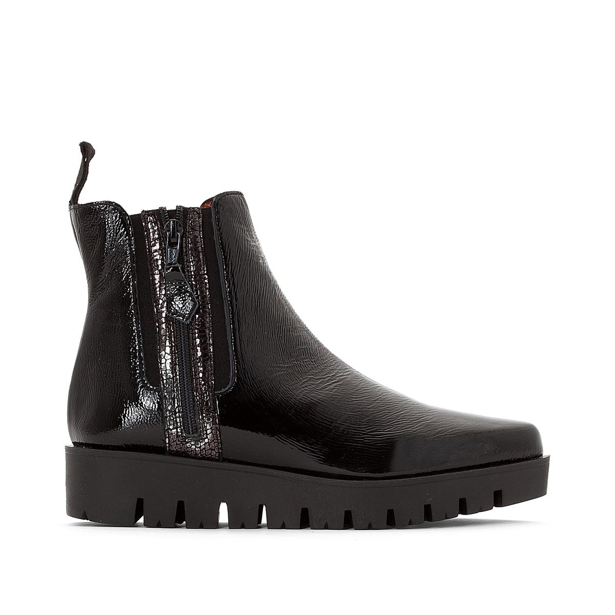 Ботинки кожаные лакированные, MIROTПодкладка: Кожа.Стелька: Кожа.Подошва: Синтетический материал.    Высота голенища: 18,5 см.  Форма каблука: Плоская.   Мысок: Круглый.          Застежка: На молнию.<br><br>Цвет: Черный лак<br>Размер: 38