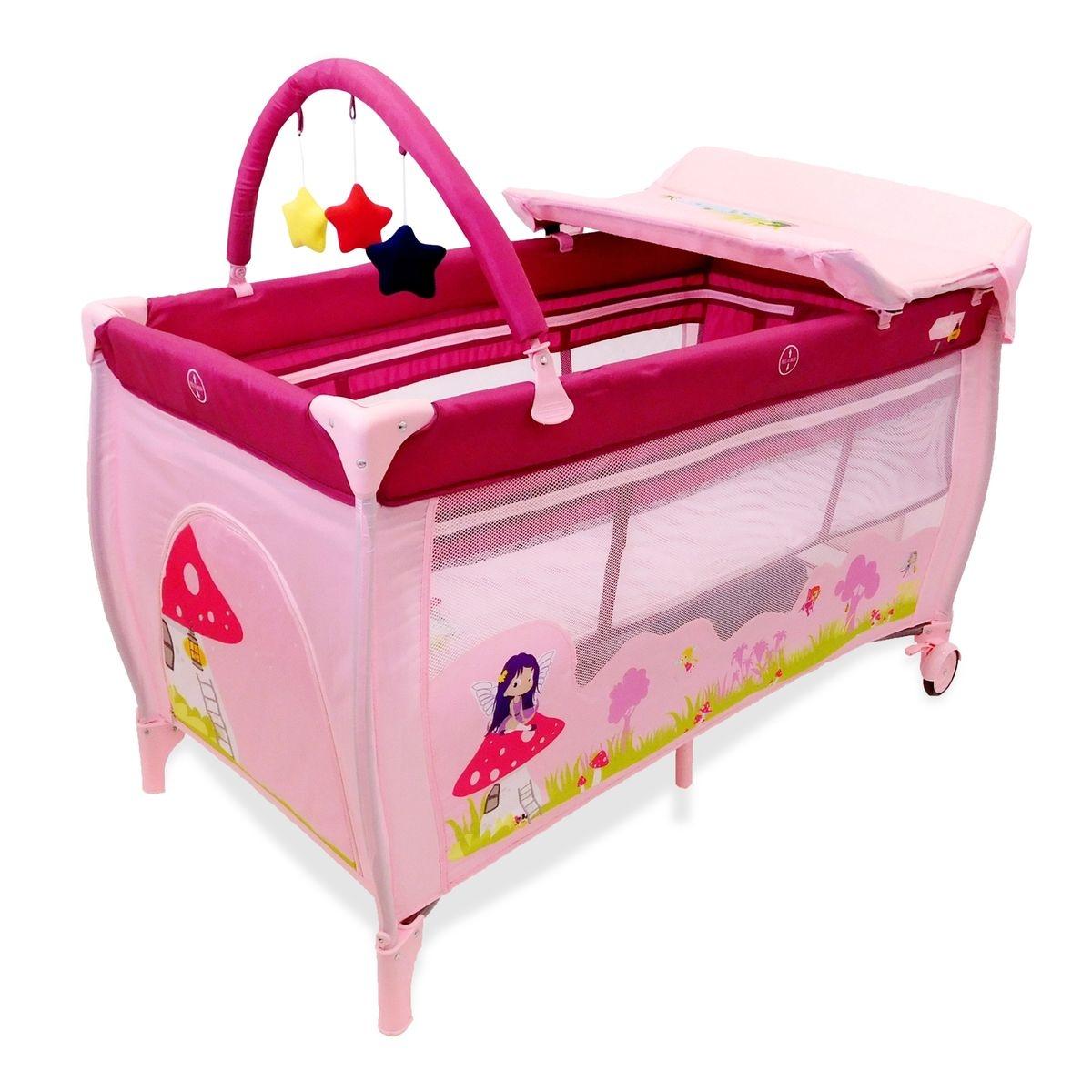 Lit pliant Baby Fox collection 'Fée' avec rehausseur, table à langer et arche - rose