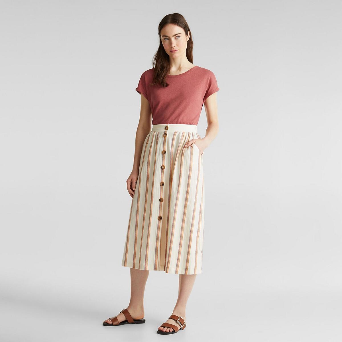 Falda midi a rayas, abotonada
