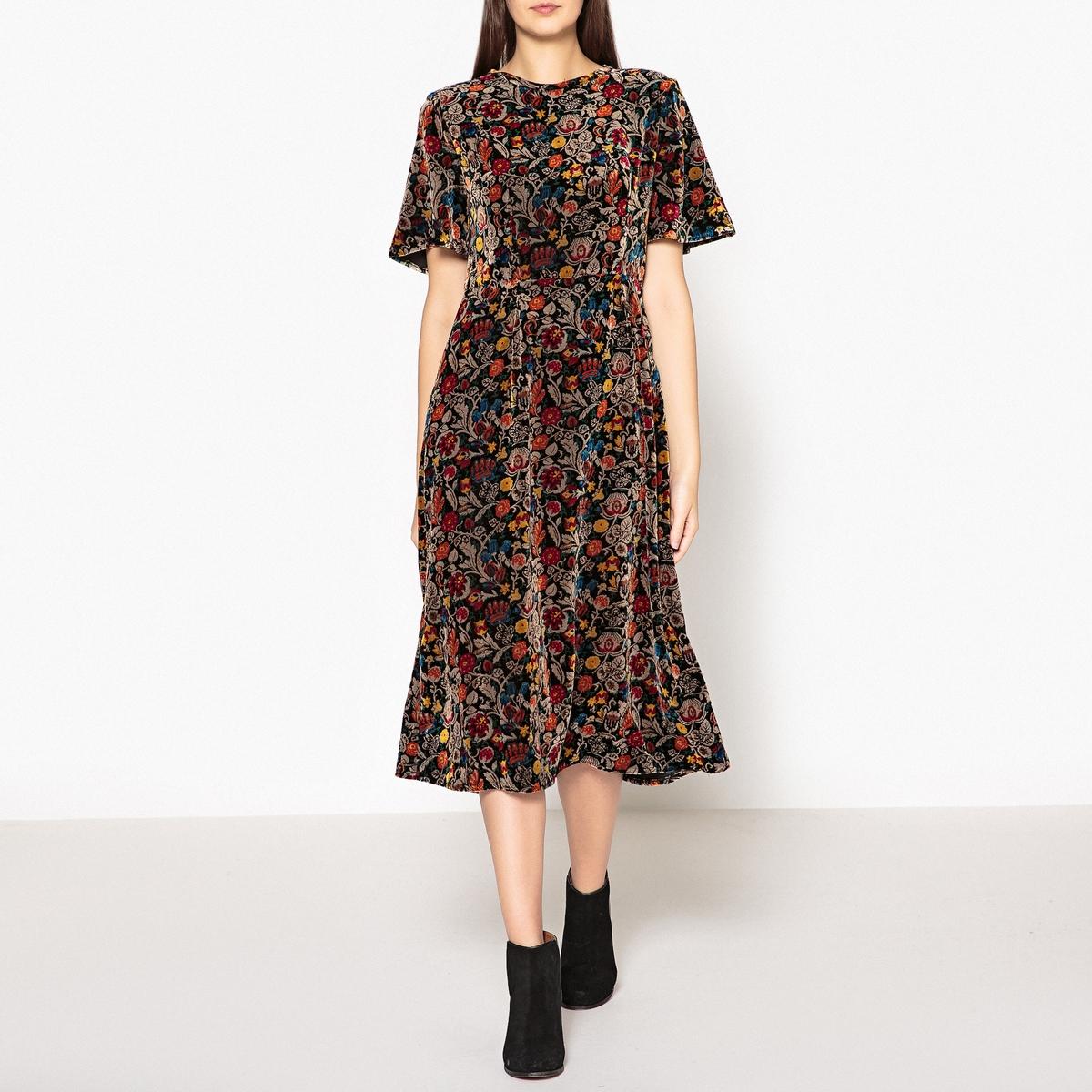 Платье с короткими рукавами из велюра ILLICO платье с короткими рукавами