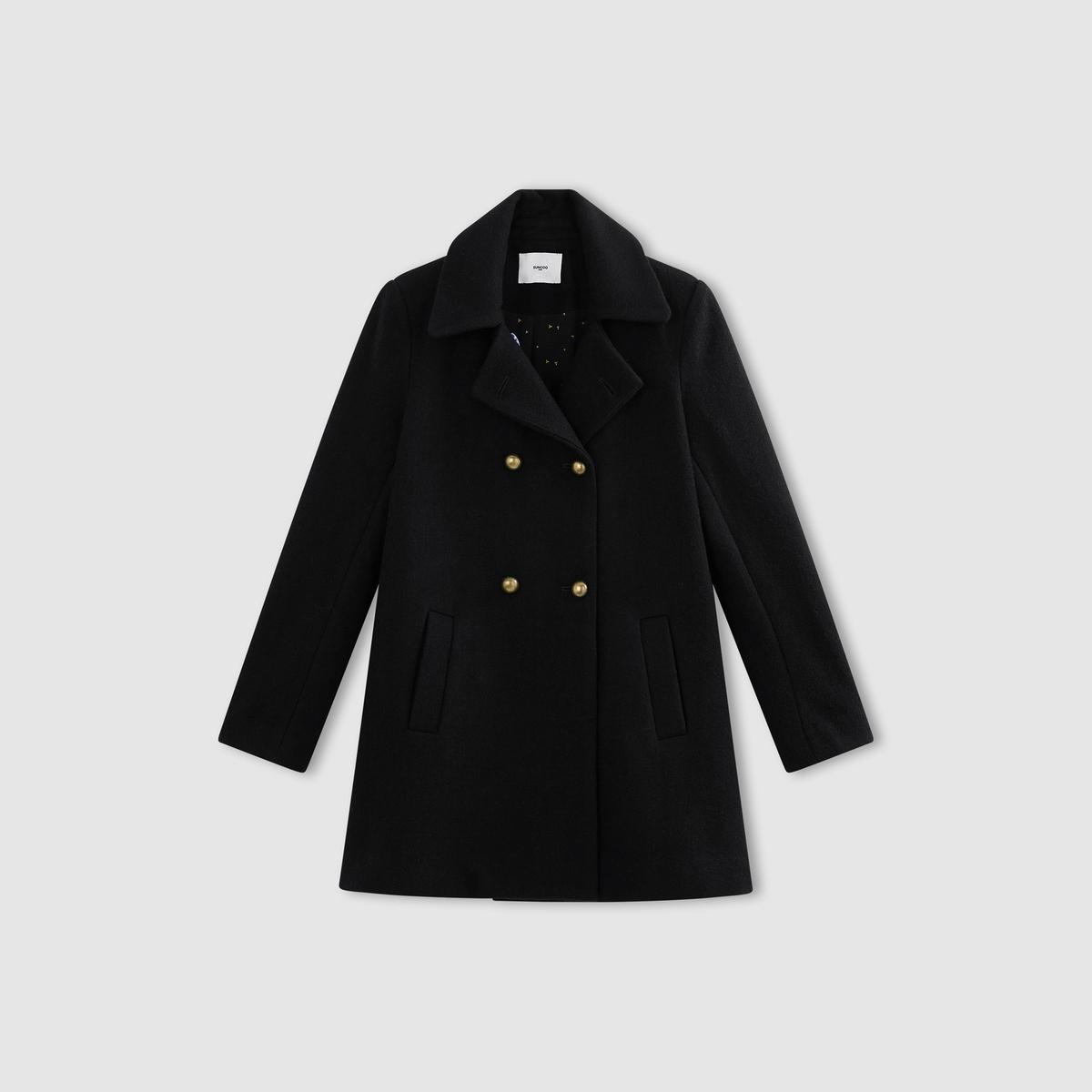 Пальто шерстяное Edma пальто рогожка драповое 60% шерсти