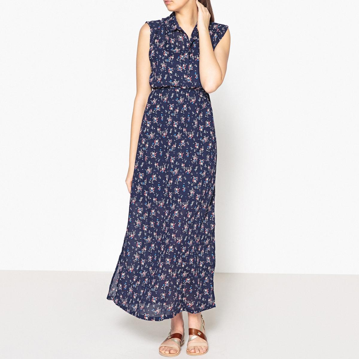 Платье длинное с рисунком, без рукавов, LILOYE