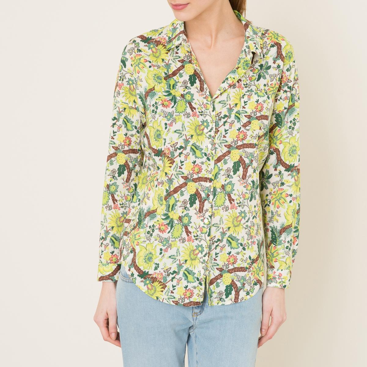 Рубашка с рисункомСостав и описание    Материал : 52% вискозы, 48% хлопкаМарка : MAISON SCOTCH<br><br>Цвет: желтый