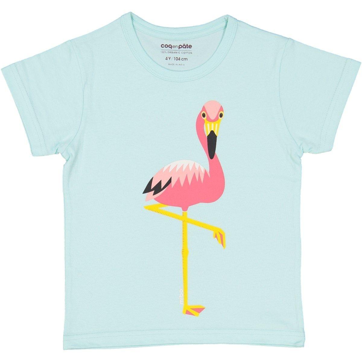 T-shirt en coton bio FLAMANT ROSE 1 à 8 ans