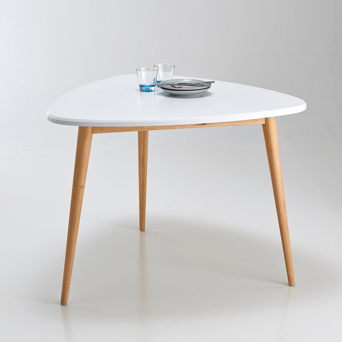 Стол обеденный на 3 персоны, JIMIСтол обеденный на 3 персоны, Jimi . Выполненный в стиле нео-ретро, этот стол прекрасно впишется в декор Вашей кухни или столовой ! Описание :Овальная форма- Рассчитан на 3 персоны.Характеристики :- Столешница из МДФ с покрытием белым и полиуретановым лаком.3 ножки из массива березы, лаковое покрытие.Для сохранения лакированного покрытия рекомендуем избегать ударов, из-за которых появляются микротрещины  . Настоятельно рекомендуем использовать подставки под тарелки и стаканы.Вся коллекция на сайте laredoute.ruРазмеры :Длина : 103,3 см.Высота : 75 смГлубина : 100 смРазмеры и вес ящика :1 упаковкаДл. 111 x Выс. 12,5 x Гл, 109 см, 21,9 кг.Доставка на дом :Данная модель стола требует самостоятельной сборки. Доставка осуществляется до квартиры  по предварительному согласованию!Внимание ! Убедитесь, что посылку возможно доставить на дом, учитывая ее габариты.<br><br>Цвет: белый