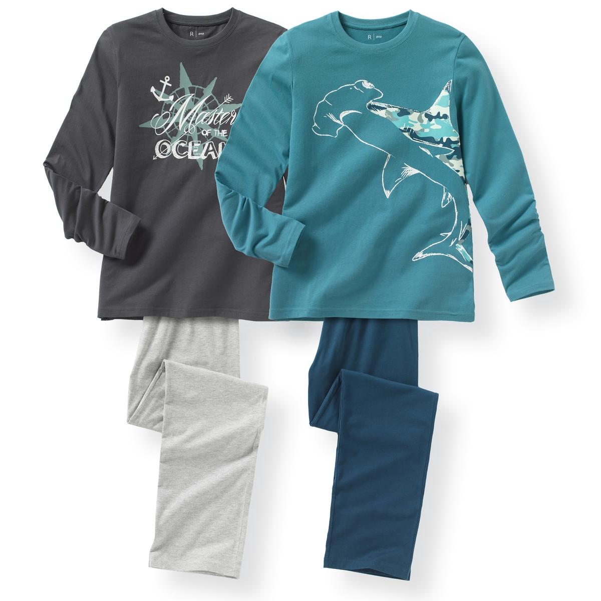 2 пижамы из хлопка с принтом океан 10-16 летПижама: футболка с длинными рукавами и брюки. В комплекте 2 пижамы: Футболки с разными рисунками . Брюки однотонные с эластичными поясами. Состав и описание : Материал       джерси, 100% хлопокМарка       R ?ditionУход :Машинная стирка при 30 °C с вещами схожих цветов.Стирать и гладить с изнаночной стороны.Машинная сушка в умеренном режиме.Гладить при низкой температуре.<br><br>Цвет: серый + синий<br>Размер: 16 лет.14 лет
