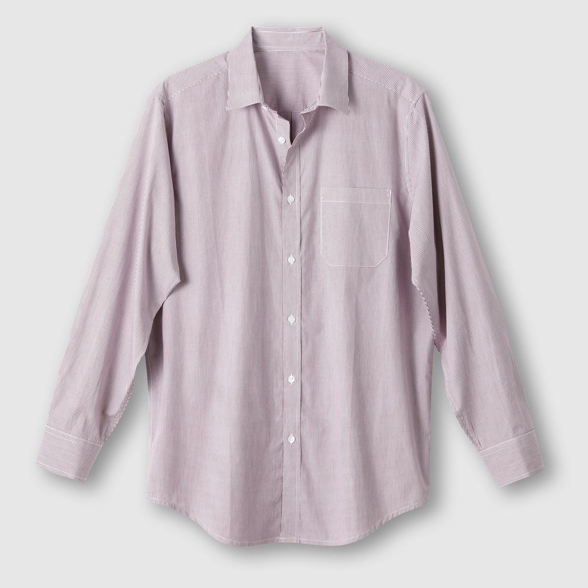 Рубашка из поплина, рост 1 (до 1,76 м)Рубашка с длинными рукавами.  Из оригинального поплина в полоску или в клетку с окрашенными волокнами. Воротник со свободными уголками. 1 нагрудный карман. Складка с вешалкой сзади. Слегка закругленный низ.Поплин, 100% хлопок. Рост 1 (при росте до 1,76 м) :  длина рубашки 83 см, длина рукава 62 см. Есть модели на рост 2 и 3.<br><br>Цвет: в полоску бордовый/белый<br>Размер: 53/54