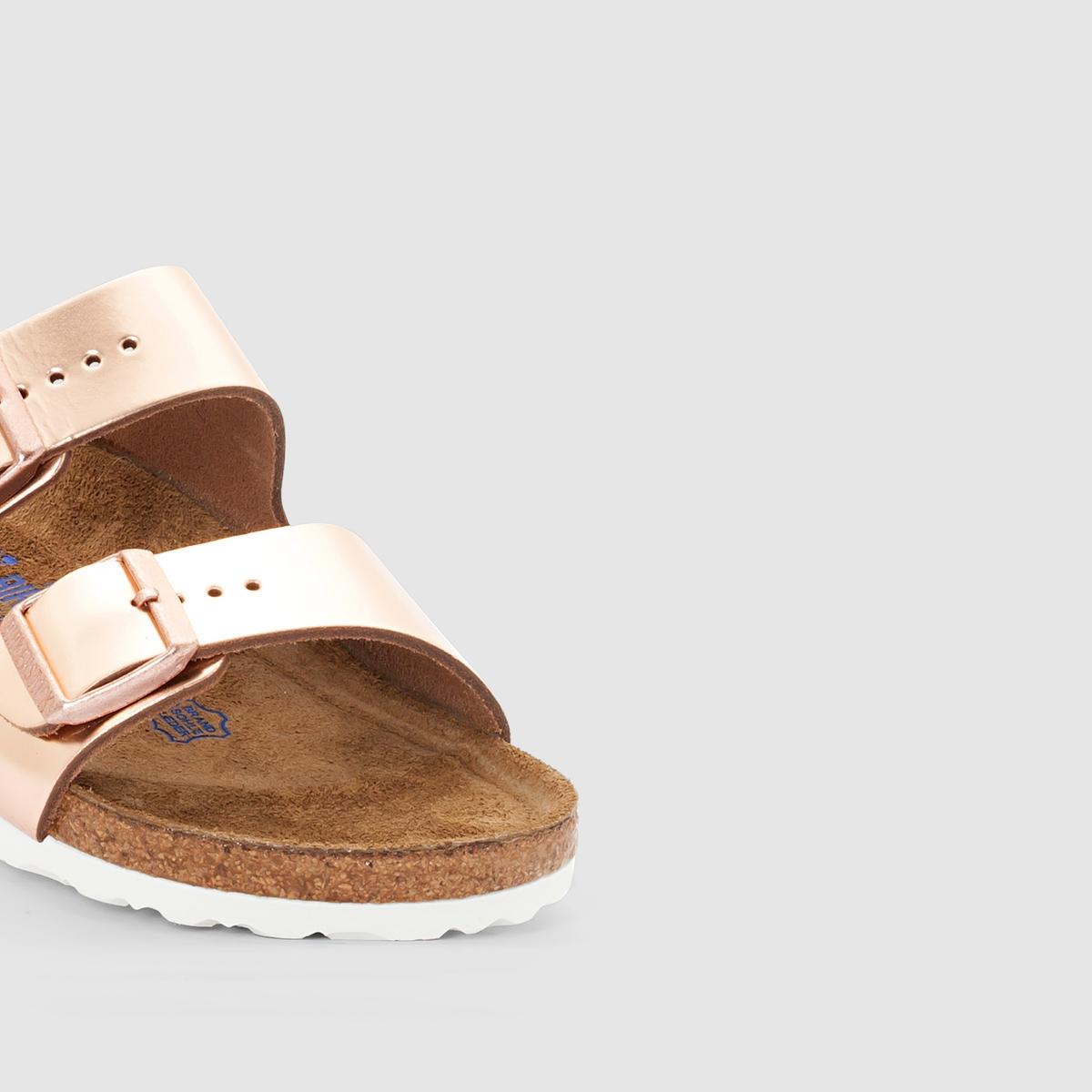 Туфли без задника кожаныеДетали  •  Вьетнамки •  Застежка : без застежки •  Открытый мысокСостав и уход  •  Верх 100% кожа •  Подкладка 100% кожа •  Стелька 100% кожа •  Подошва 100% ЭВА<br><br>Цвет: розовый металлик<br>Размер: 35