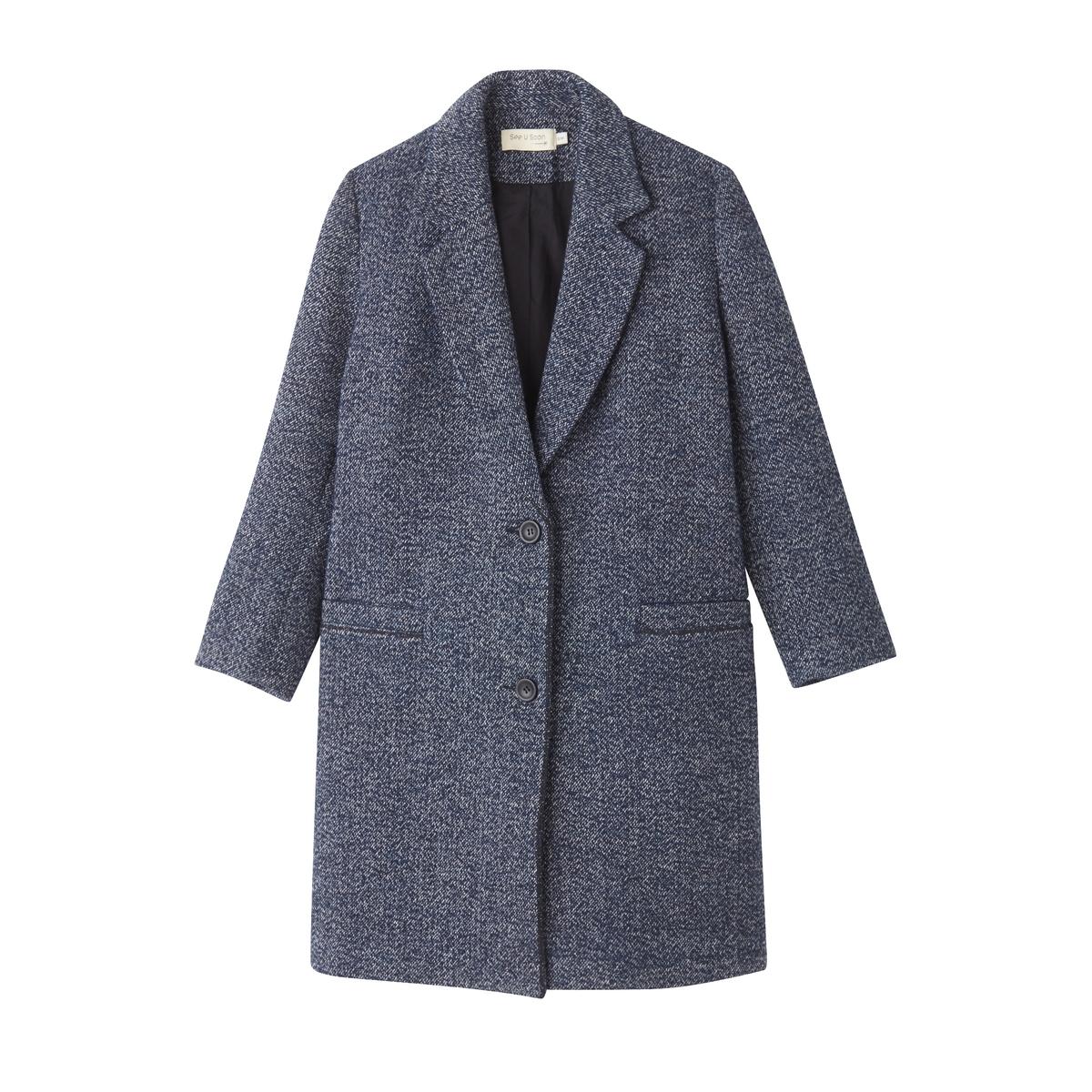 ПальтоПальто в мужском стиле, удачно вошедшее в женский гардероб, идеально для межсезонья . Это пальто не подчеркивает формы, но придает невероятно роскошный внешний вид   !Детали •  Длина : средняя •  Воротник-поло, рубашечный • Застежка на пуговицыСостав и уход •  13% шерсти, 14% акрила, 57% хлопка, 6% полиамида, 10% полиэстера •  Следуйте рекомендациям по уходу, указанным на этикетке изделия<br><br>Цвет: синий меланж<br>Размер: M/L