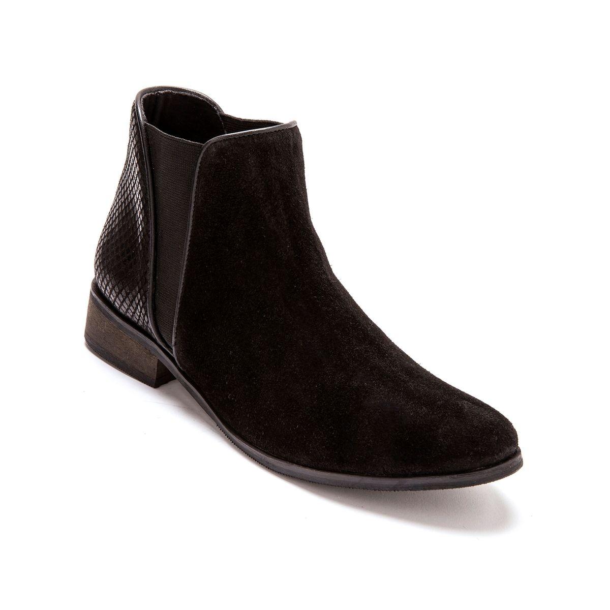 Boots cuir velours grande largeur