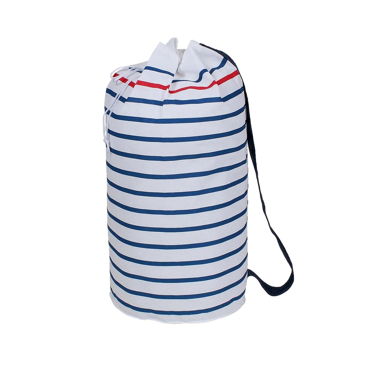 Сумка-рюкзак для белья, BazilХраните белье и экономьте свободное пространство в доме благодаря этой практичной и удобной в транспортировке сумке с полосатым рисунком.Характеристики сумки для белья:- Нетканый материал из 100% полипорпилена с рисунком в синюю и красную полоску на белом фоне.- Застежка с завязками и фиксаторами на кулиске.- Плечевой ремень для удобной транспортировки.Размеры сумки для белья:? 38 см.Высота: 65 см.Вместимость: 90 л.Другие сумки и чехлы для хранения Bazil на сайте laredoute.ru<br><br>Цвет: в полоску белый/темно-синий