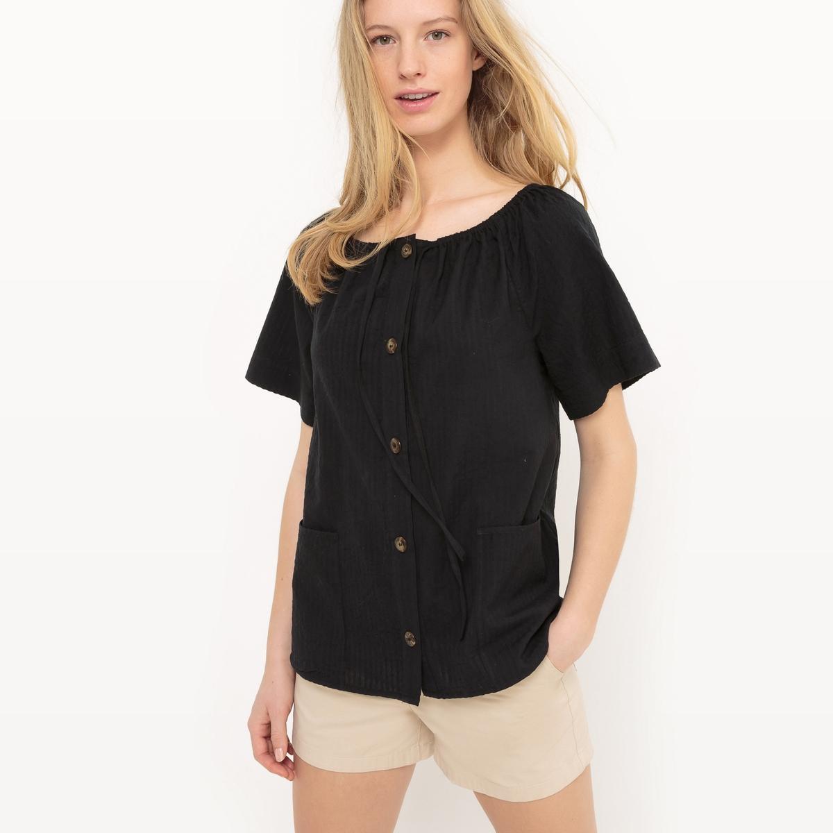 Блузка из хлопка, со шнуровкой и открытыми плечами