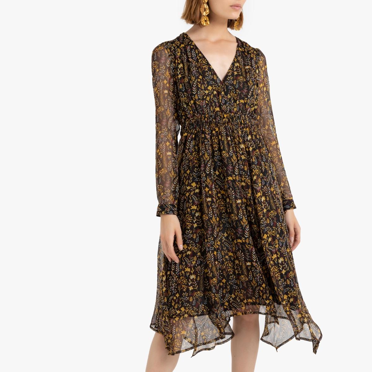 цена Платье La Redoute С запахом и с длинными рукавами 1(S) черный онлайн в 2017 году