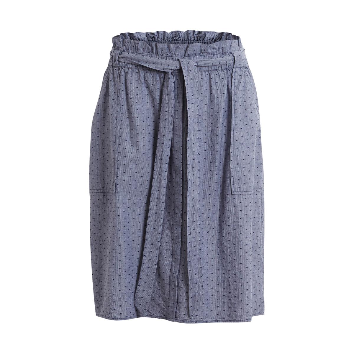 Юбка-миди с карманами VIDOTTA SKIRTЮбка длиной до колен VIDOTTA SKIRT от VILA. Прямой покрой. Эластичный пояс с воланами, пояс с завязками. Сплошной рисунок в горох. Два накладных кармана спереди.Состав и описаниеМарка : VILAМатериал : 100% хлопок<br><br>Цвет: темно-синий меланж<br>Размер: L