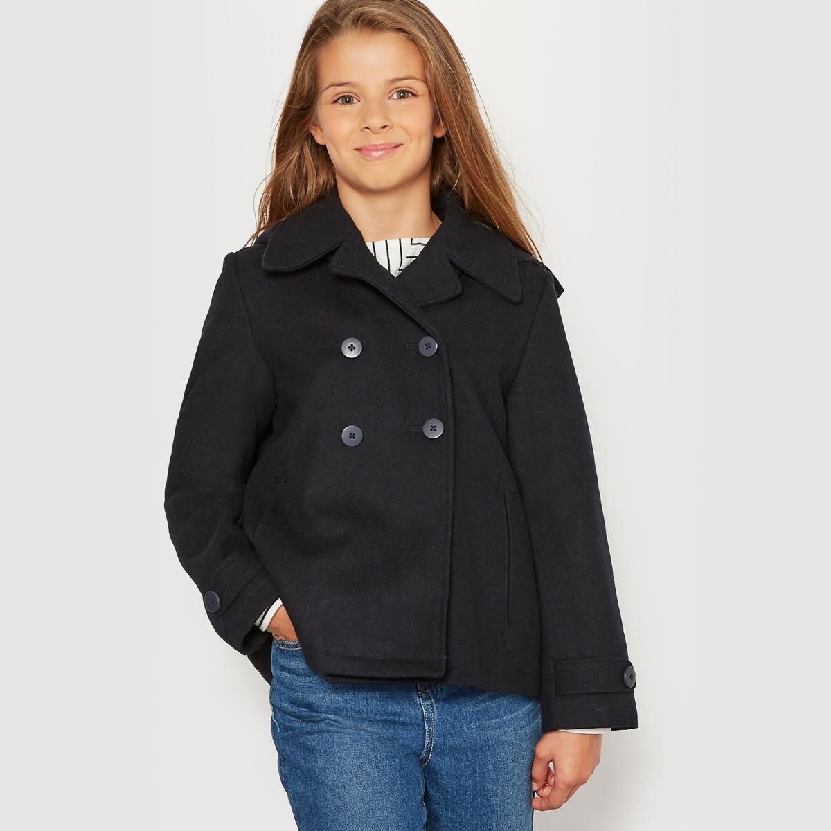 Куртка короткая из шерстяного драпа, 10-16 летКороткая куртка из шерстяного драпа. Пиджачный воротник. Съемный капюшон на подкладке. Двубортная планка застежки. 2 прорезных кармана спереди. Подкладка в горошек.  Состав и описание : Материал Шерстяной драп 57% шерсти, 33% полиэстера, 10% других волоконПодкладка    100% полиэстераМарка       R essentielУход :Машинная стирка при 30 °C с вещами схожих цветов.Стирка и глажка с изнаночной стороны.Машинная сушка запрещена.Гладить при умеренной температуре.<br><br>Цвет: синий морской