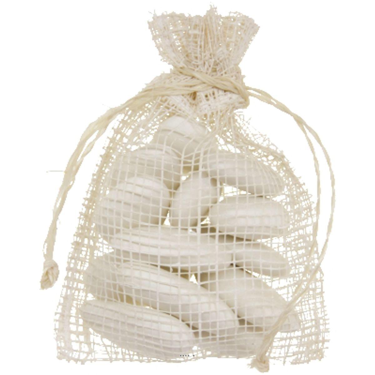 Sachets a dragees Nature x6 Blanc 7 5 x 10 cm en fils tisses avec liens - choisissez votre couleur: BLANC