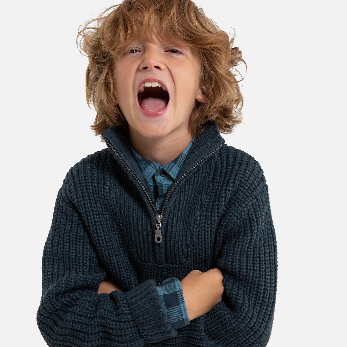 Фото - Пуловер LaRedoute С воротником-стойкой на молнии из плотного трикотажа 3-12 лет 10 лет - 138 см синий кардиган laredoute из плотного трикотажа 3 12 лет 5 лет 108 см синий