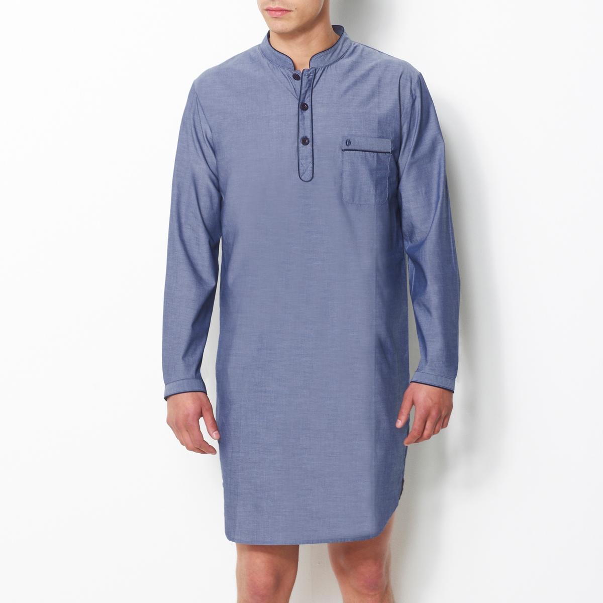 Пижама-рубашка в полоску из поплинаПижама-рубашка в полоску из поплина, 100% хлопок с окрашенными волокнами. Длинные рукава. Воротник-стойка с застежкой на 3 пуговицы. 1 нагрудный карман с вышивкой. Длина 100 см.<br><br>Цвет: синяя полоска,шамбрэ<br>Размер: M.S.L.M