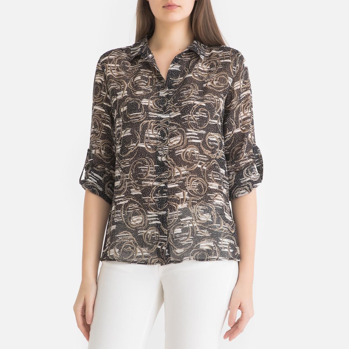 Рубашка La Redoute Из вуали с принтом и длинными рукавами 36 (FR) - 42 (RUS) черный блузка la redoute из вуали с принтом и длинными рукавами smoke 3 l каштановый