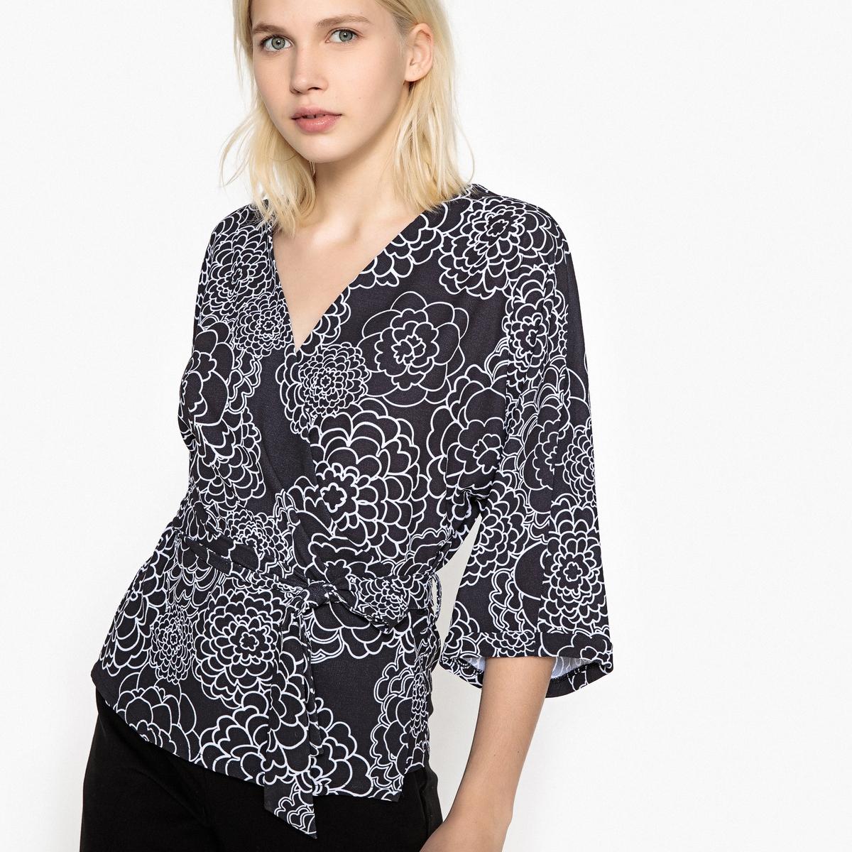 Блузка в форме каш-кер с поясом и цветочным рисунком