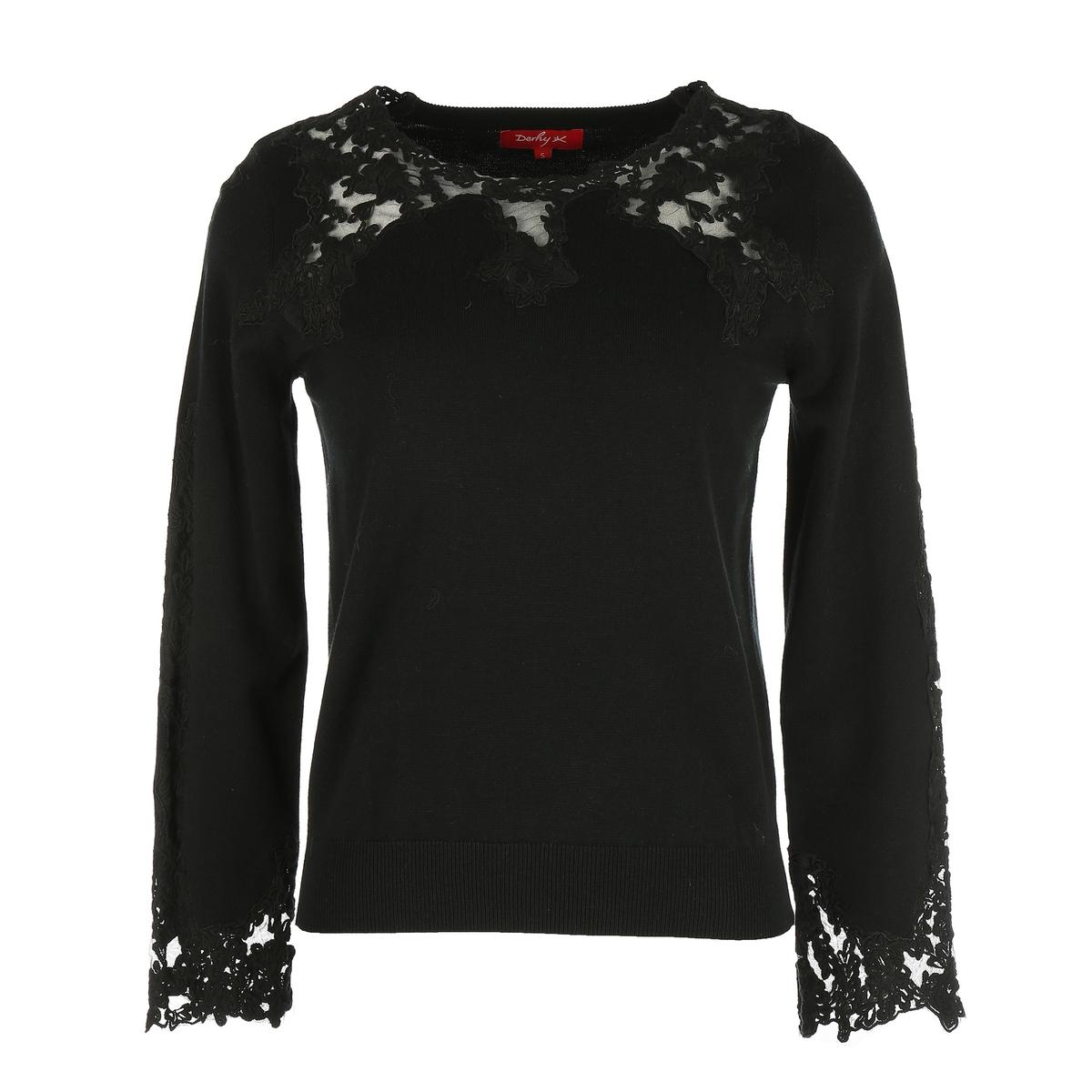 Sweter z okrądłym dekoltem z koronką