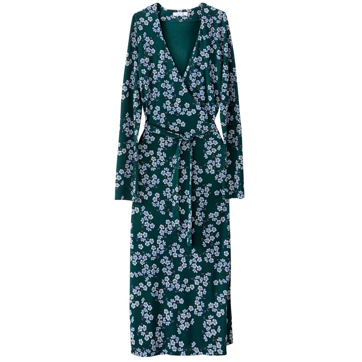 Платье длинное с запахом, рисунком и длинными рукавами