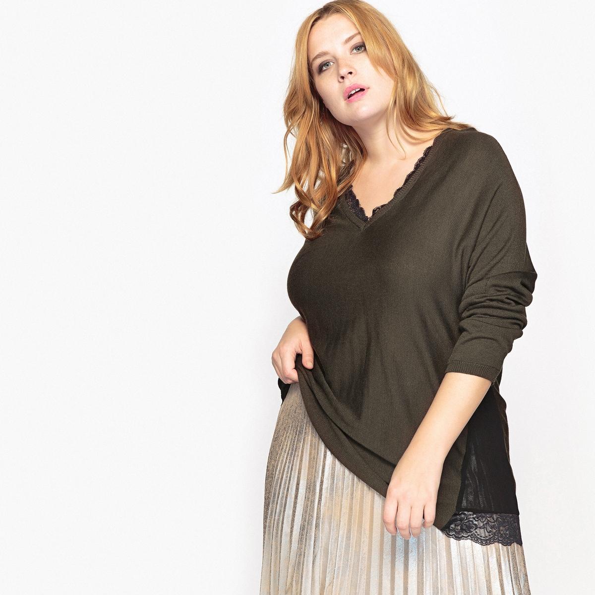 Пуловер с кружевным вырезом