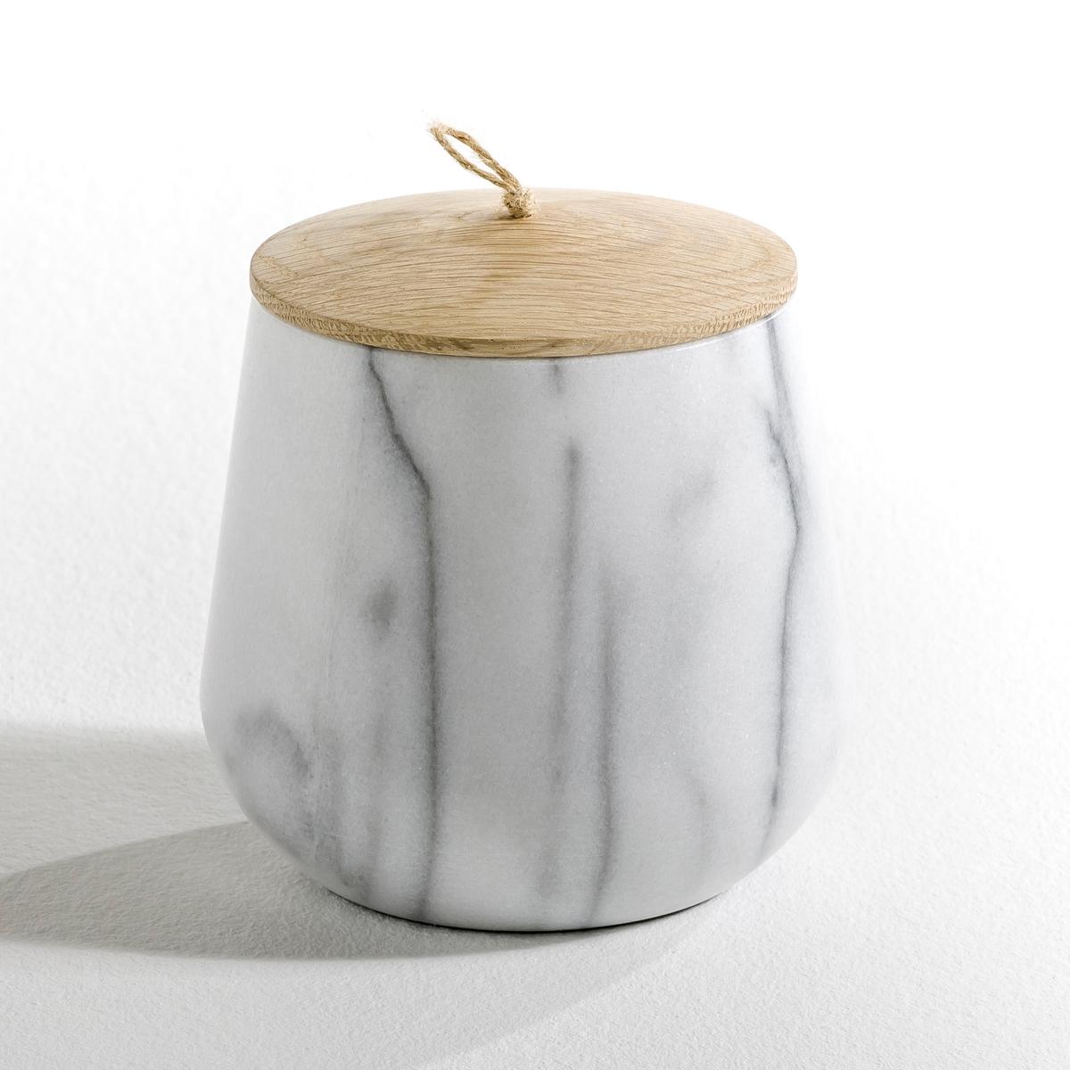 Горшок цветочный овальный из мрамора, EdwaldХарактеристики: - Выполнен из белого мрамора каждое изделие уникально, а рисунок на нем может отличаться от образца.- Крышка из натурального дуба с ручкой из сизаля.Размеры:- ?14 x В. 14 см.<br><br>Цвет: белый мрамор