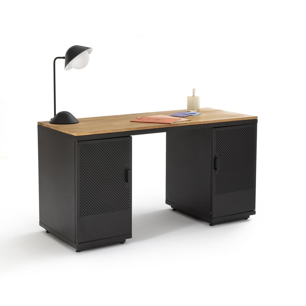 Стол LaRedoute Письменный из дуба и металла AGAMA единый размер серый