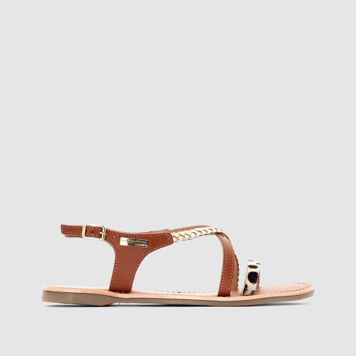 Сандалии Horse, на полоском каблуке, из кожиОчаровательные и оригинальные сандалии с минималистским дизайном подарят вам настоящее наслаждение этим летом в сочетании с любыми шортами, юбками и платьями...<br><br>Цвет: бежевый/ синий,серо-бежевый/леопард