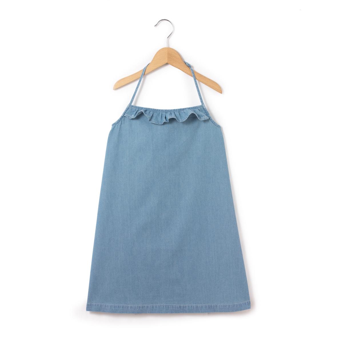 Платье с открытой спинкой из легкого денима 3-12 лет