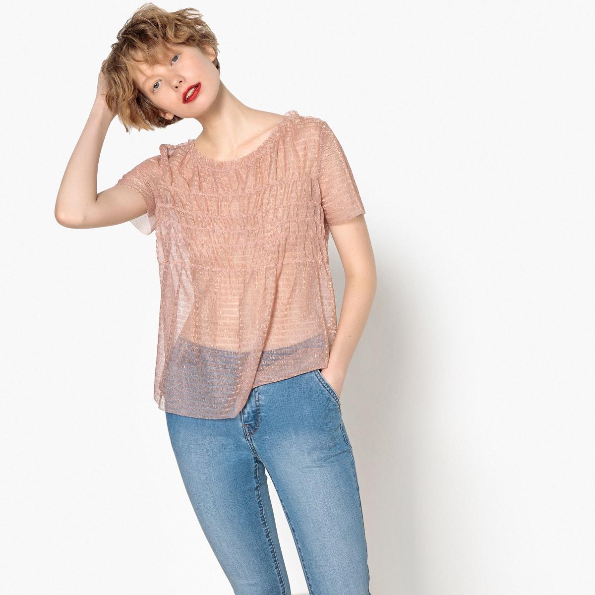 Blusa em voile efeito brilhante, mangas curtas