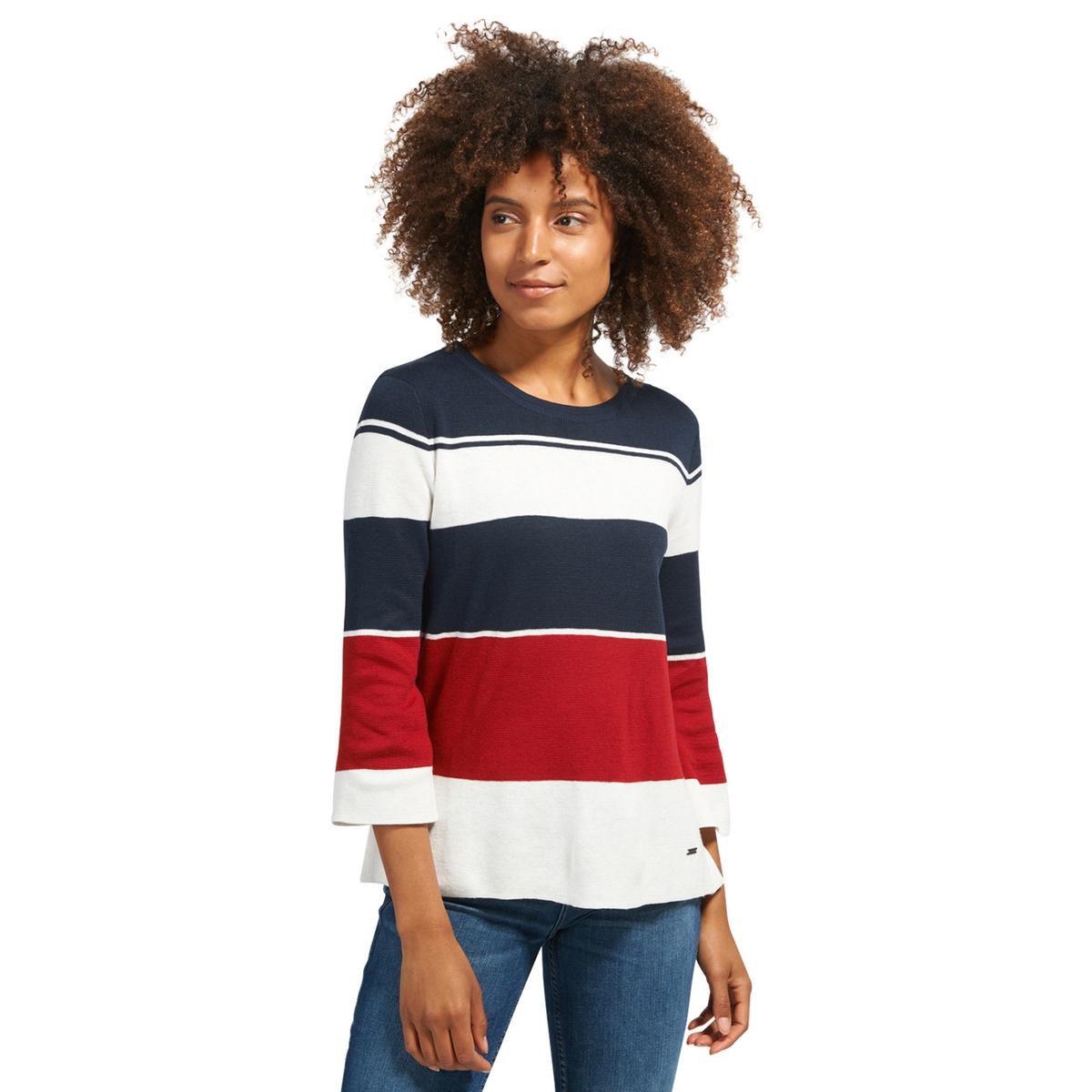 Пуловер с круглым вырезом из тонкого трикотажаОписание:Детали •  Длинные рукава •  Круглый вырез •  Тонкий трикотаж  •  Рисунок в полоску  Состав и уход •  50% акрила, 50% хлопка •  Следуйте советам по уходу, указанным на этикетке<br><br>Цвет: синий/красный/белый<br>Размер: XL