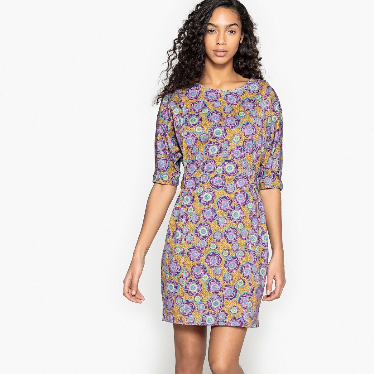 Платье La Redoute С цветочным рисунком и поясом сзади 36 (FR) - 42 (RUS) желтый свитшот la redoute с рисунком спереди мес лет 1 мес 54 см желтый