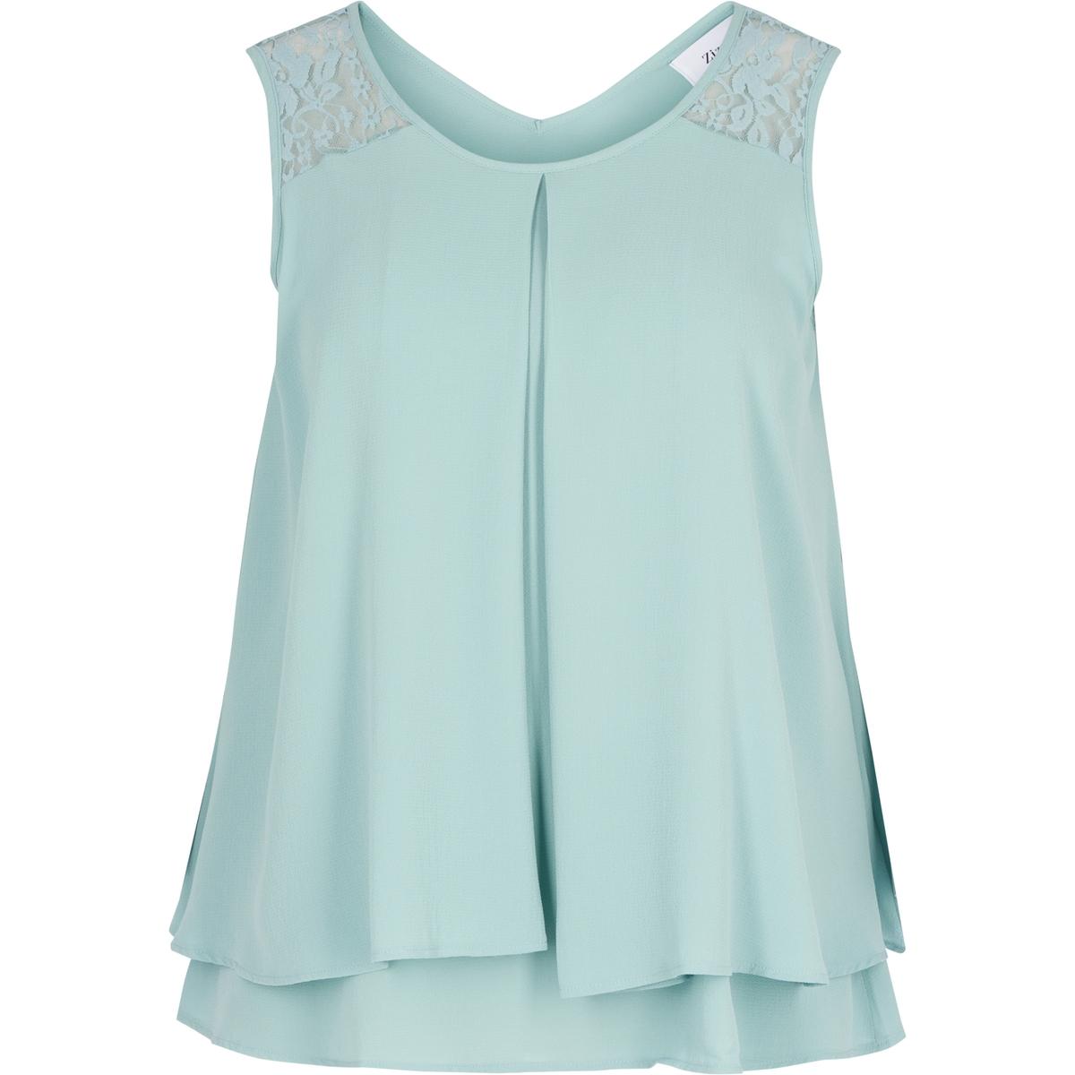Блузка из струящейся тканиБлузка из струящейся ткани без рукавов ZIZZI. 97% полиэстера, 3% эластана. Красивая блузка со вставкой из кружева на плечах. V-образный вырез сзади<br><br>Цвет: синий,черный