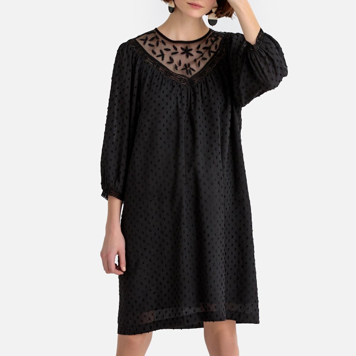 Платье-миди La Redoute La Redoute 38 (FR) - 44 (RUS) черный весы напольные irit ir 7260 рисунок
