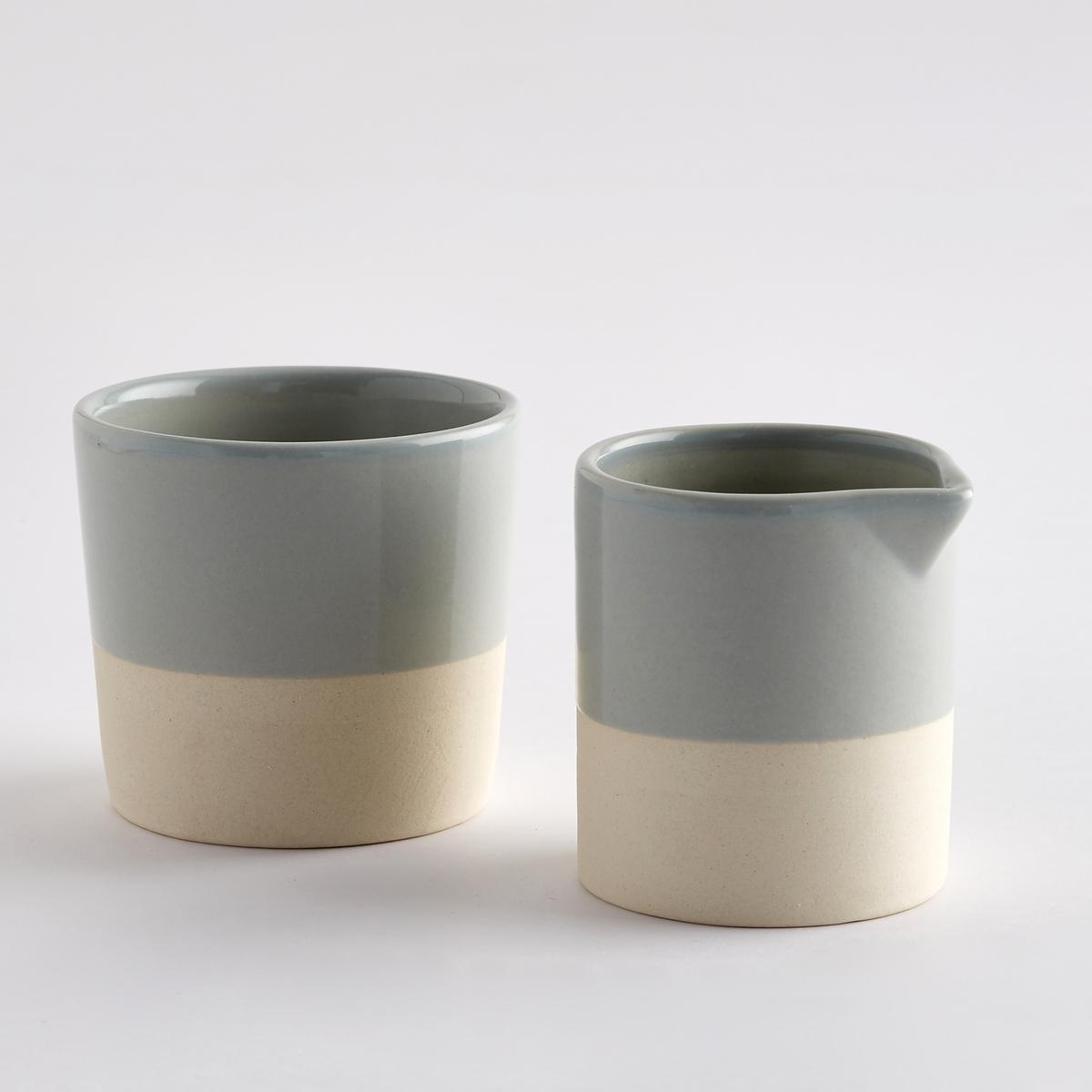 Набор из молочника и сахарницы из керамики, покрытой глазурью, дно из керамики без глазури, Warota