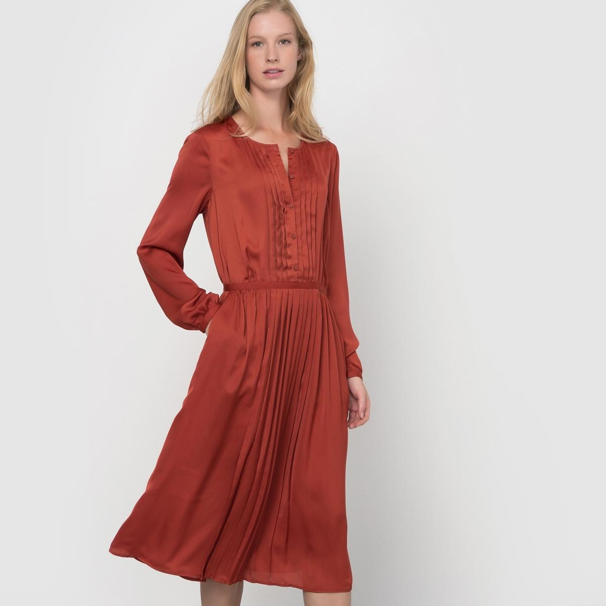 Платье плиссированное с длинными рукавамиСостав и описание :Длина : 110 смМатериал : 100% полиэстерМарка : Atelier R.Уход :Машинная стирка при 30 °С с вещами схожих цветов.Стирать и гладить с изнаночной стороны.<br><br>Цвет: кирпично-красный<br>Размер: 44 (FR) - 50 (RUS)